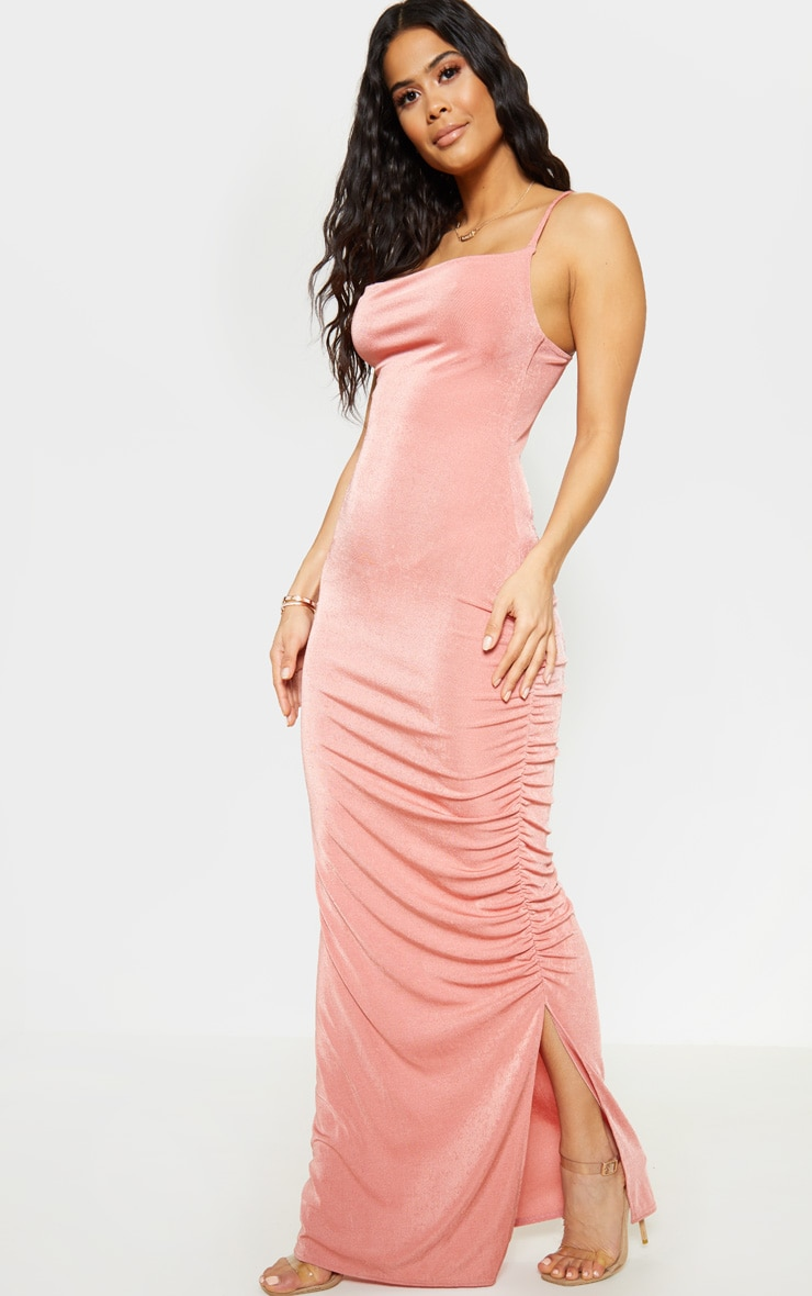 Blush Textured Slinky Ruched Maxi Dress 1