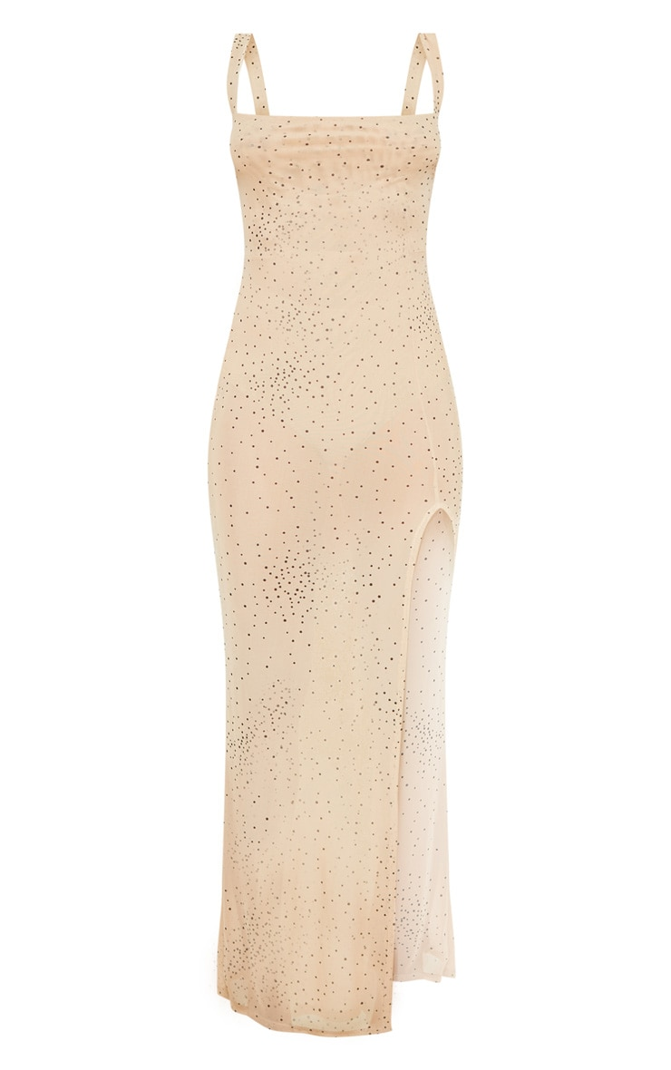 Beige Polka Dot Sheer Mesh Strappy Split Maxi Dress 3