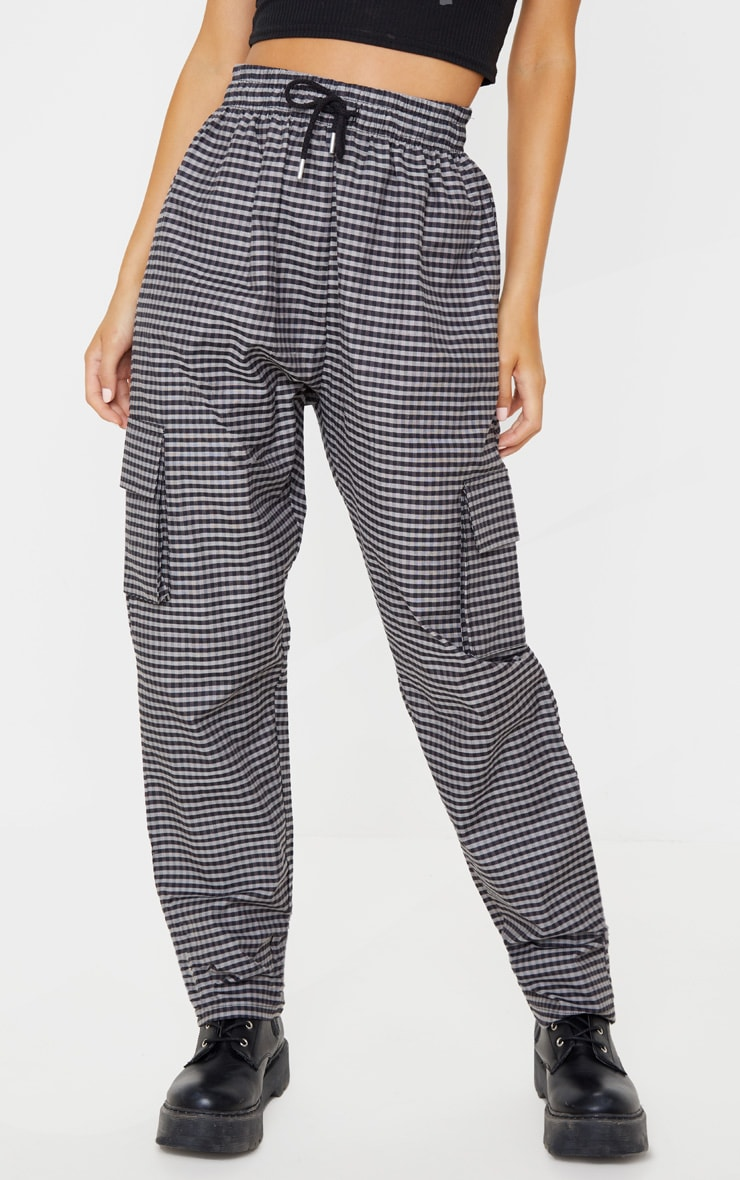 Grey Woven Checked Cargo Trouser 2