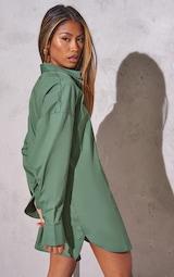 RENEW Green Bell Cuff Detail Oversized Shirt Dress 2