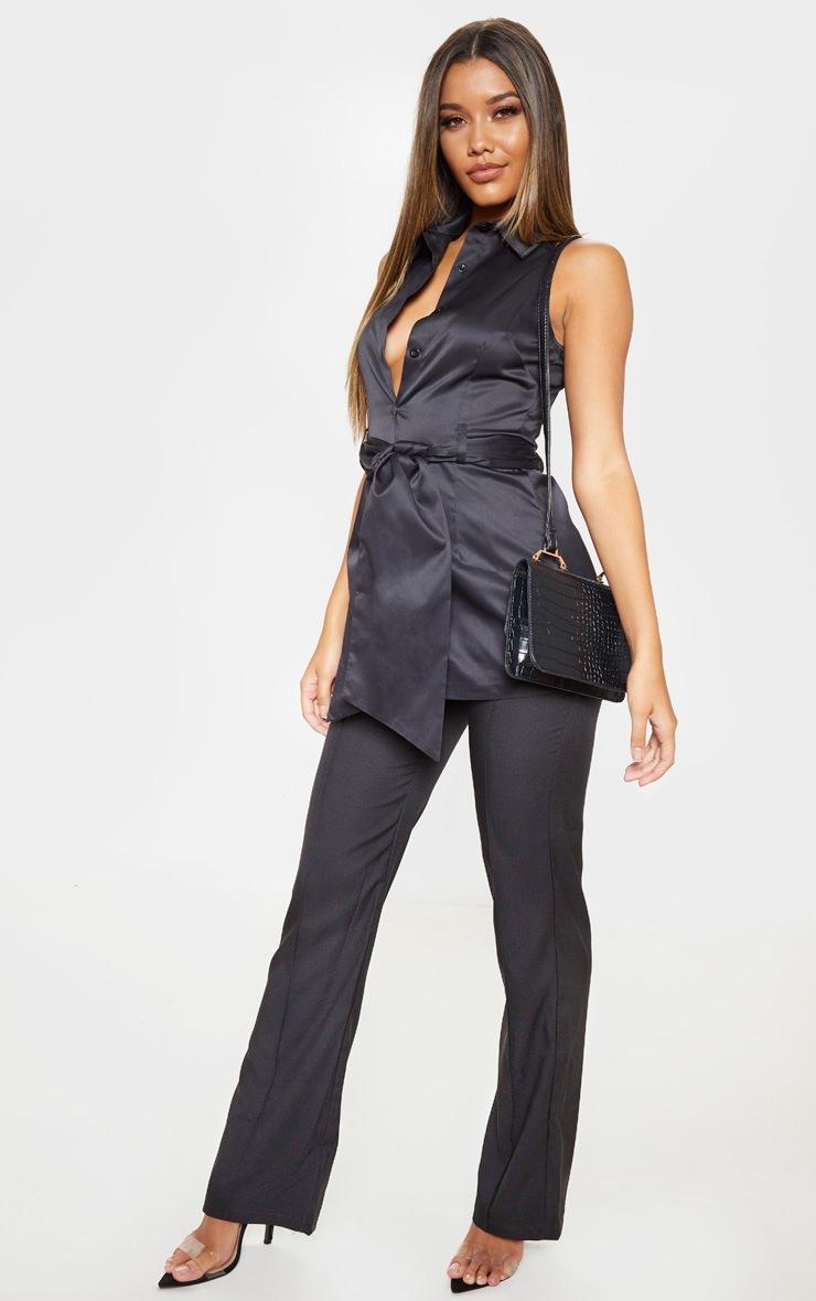 Black Sleeveless Peplum Shirt 4