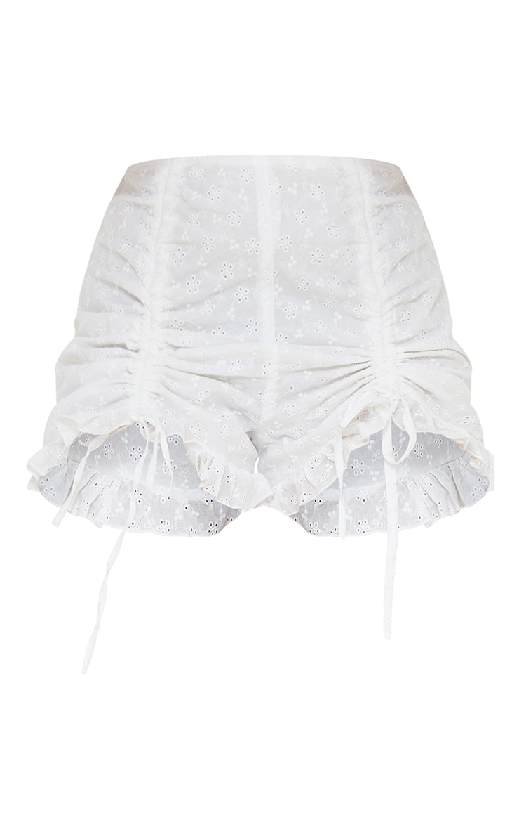 Petite White Broderie Anglaise Ruched Detail Shorts 6