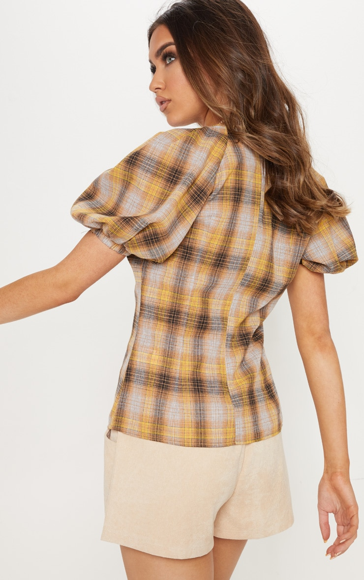 Mustard Check Puff Short Sleeve Top 2