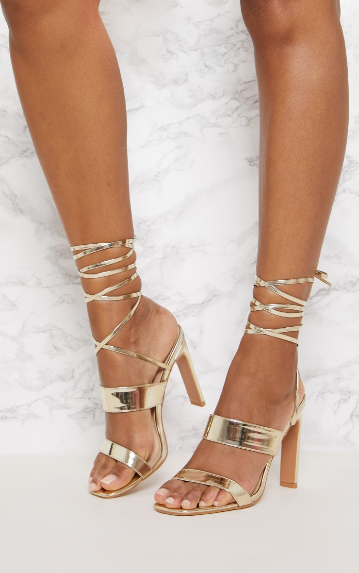 Gold Patent Ankle Lace Up Mule Heel 2