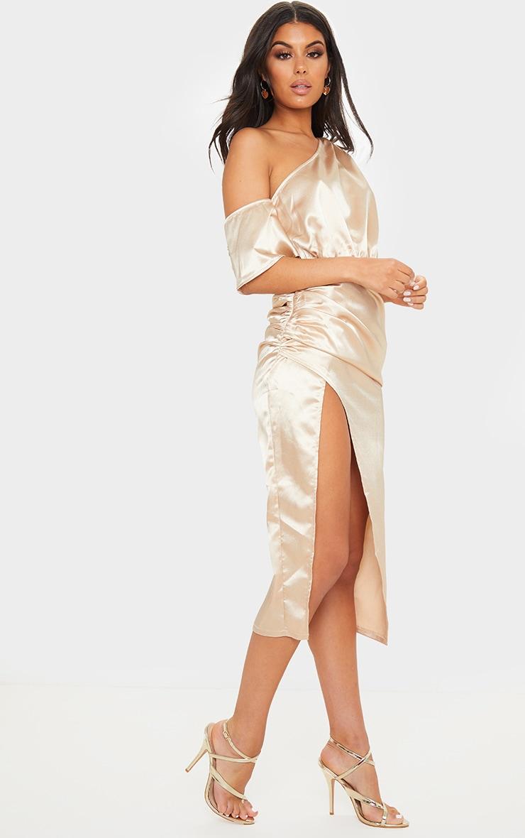Champagne Satin One Shoulder Ruched Skirt Midi Dress 4