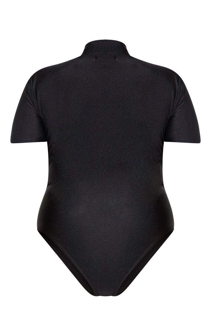 PLT Plus - Maillot de bain noir à col haut et détail zippé  5