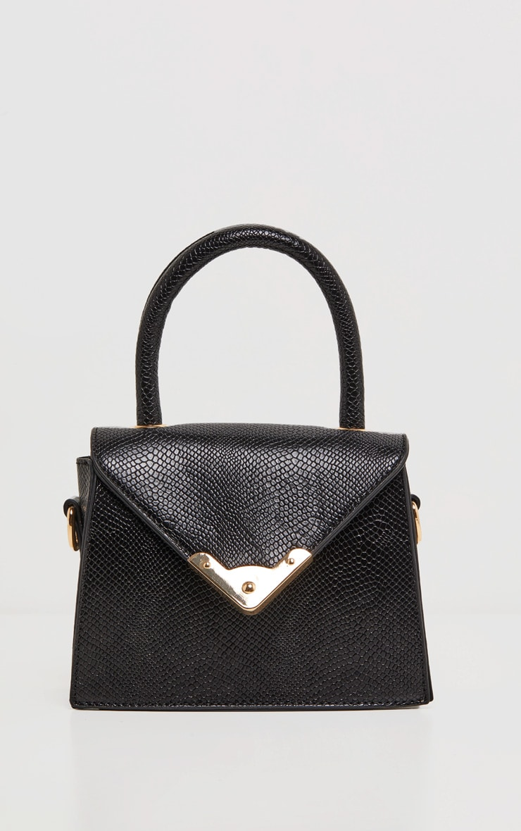 Black PU Envelope Mini Bag 3