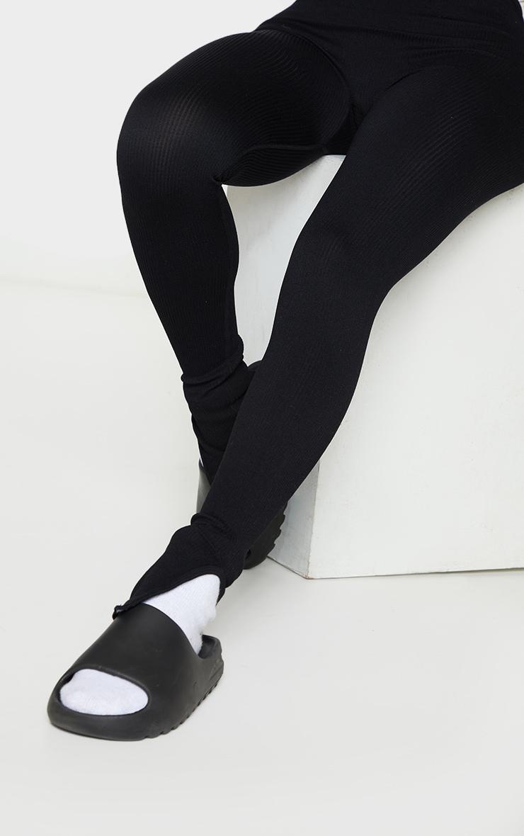 Shape Black Contour Ribbed Split Hem Leggings 4
