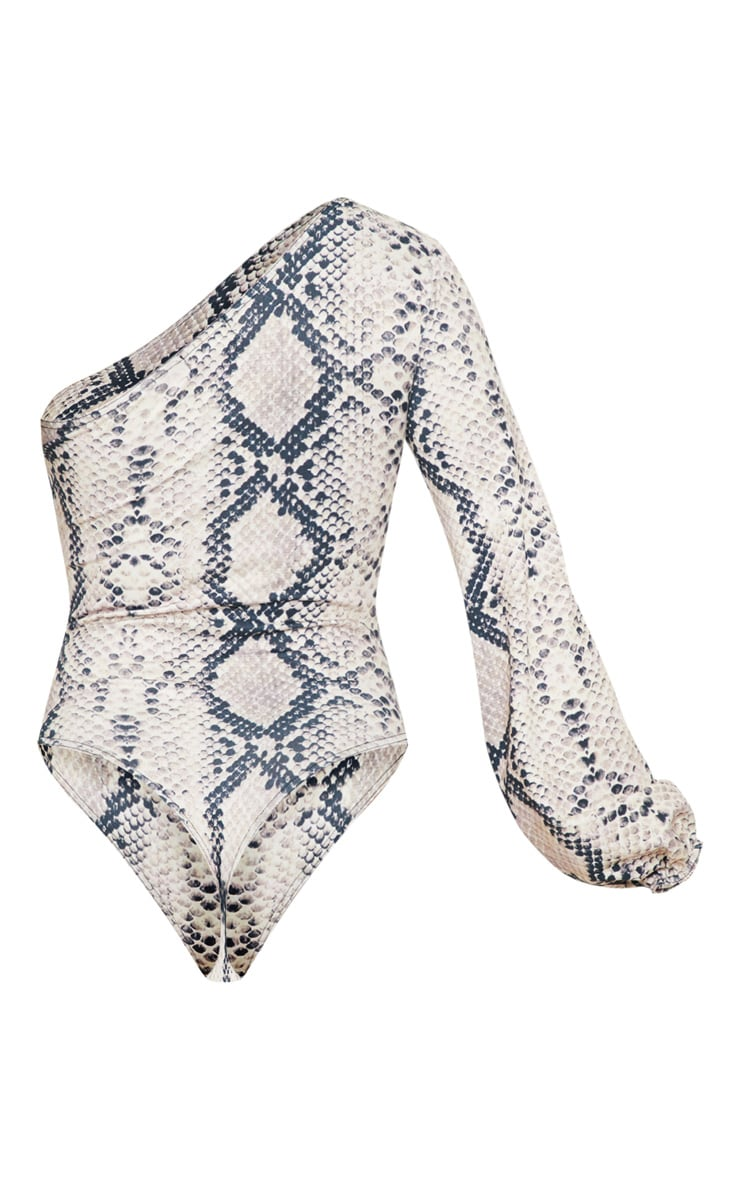 Cream One Shoulder Snake Bodysuit 4