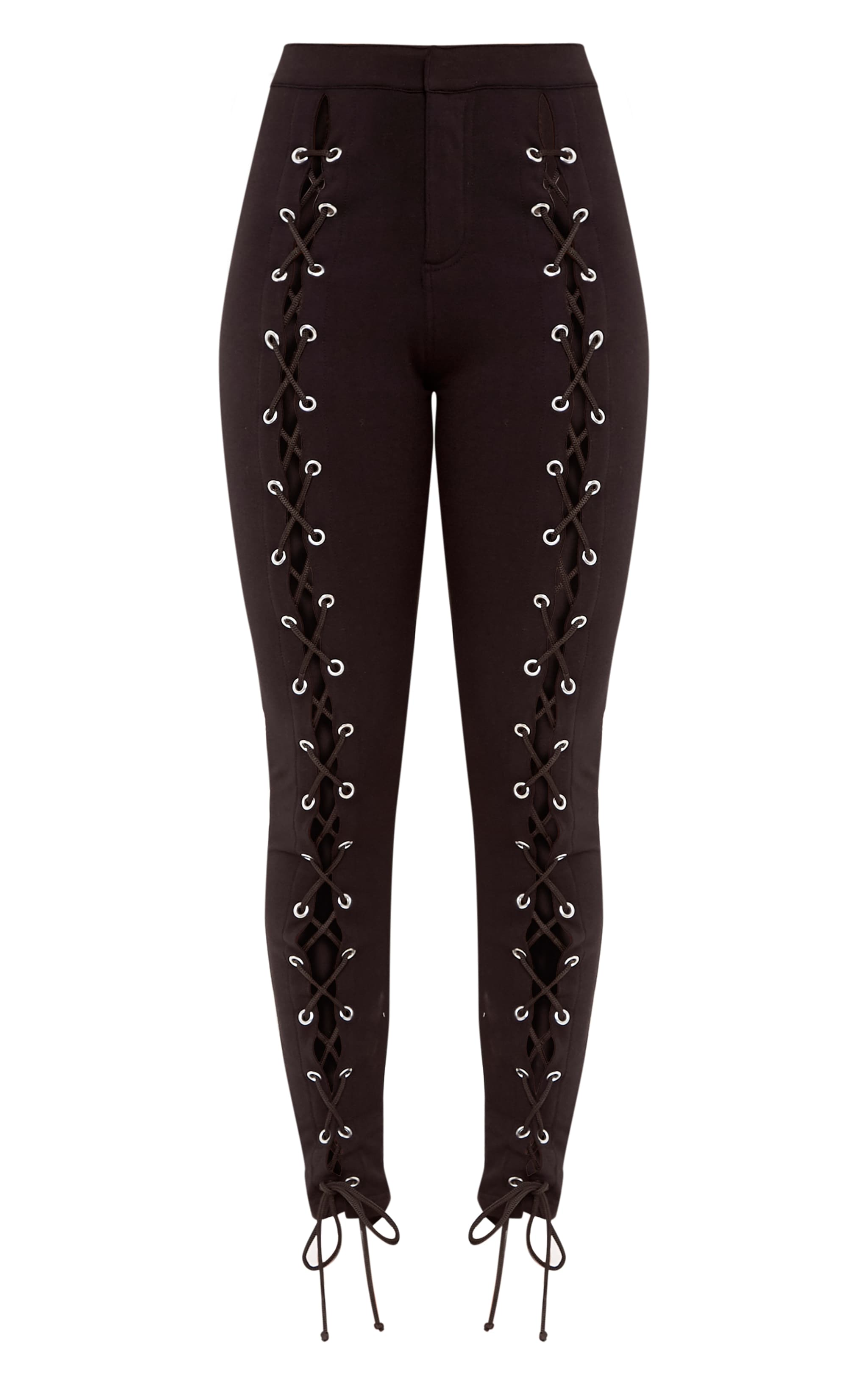 Lynda Black Front Lace Up Skinny Pants 3
