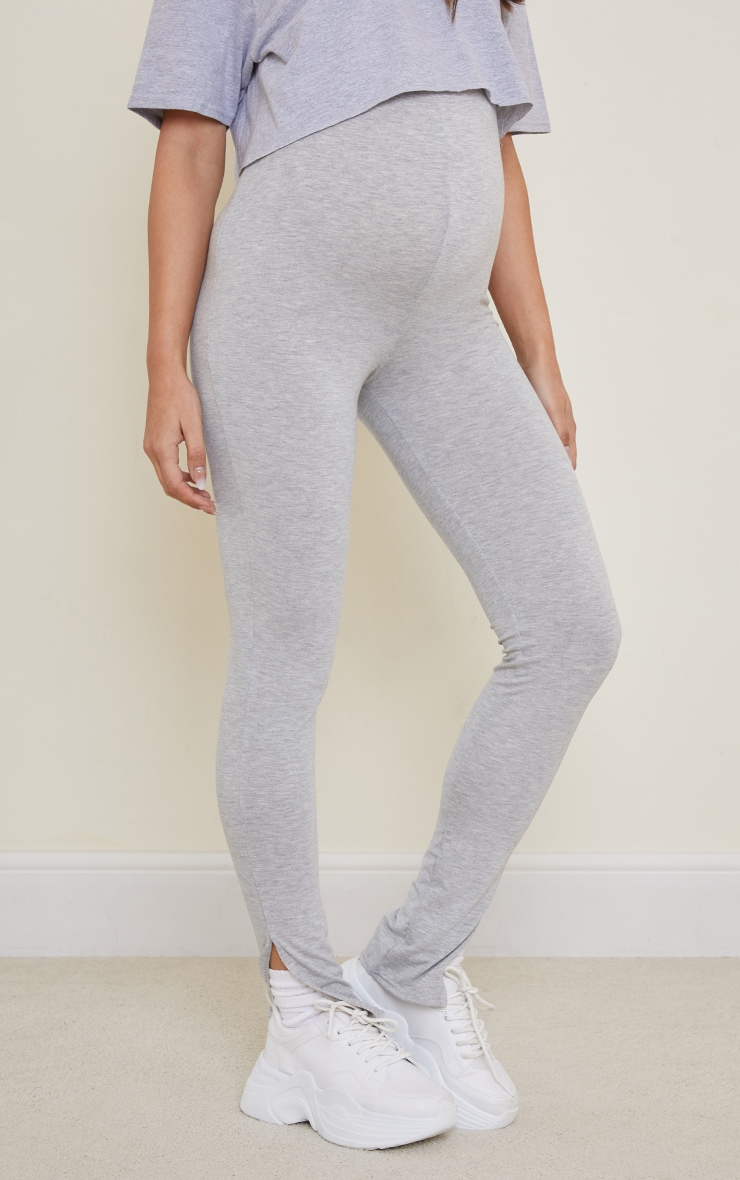 Maternity Grey Basic Split Hem Leggings 2