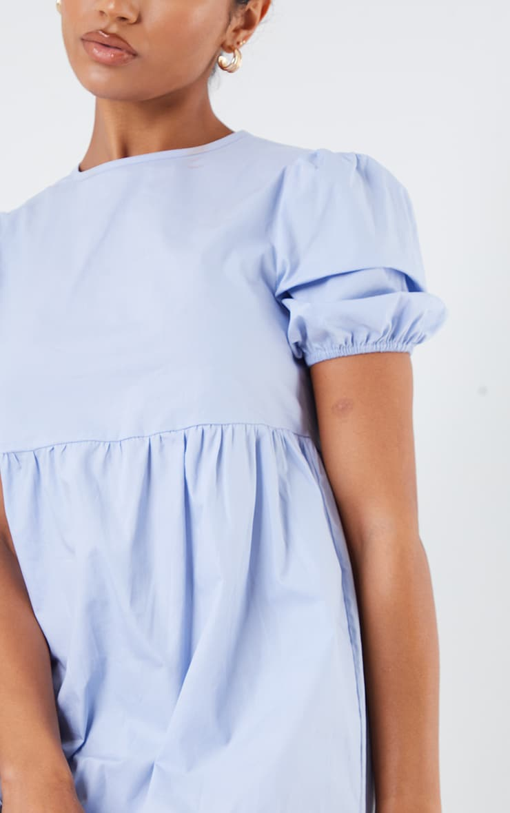 Blue Cotton Tiered Drop Hem Short Sleeve Midi Smock Dress 4