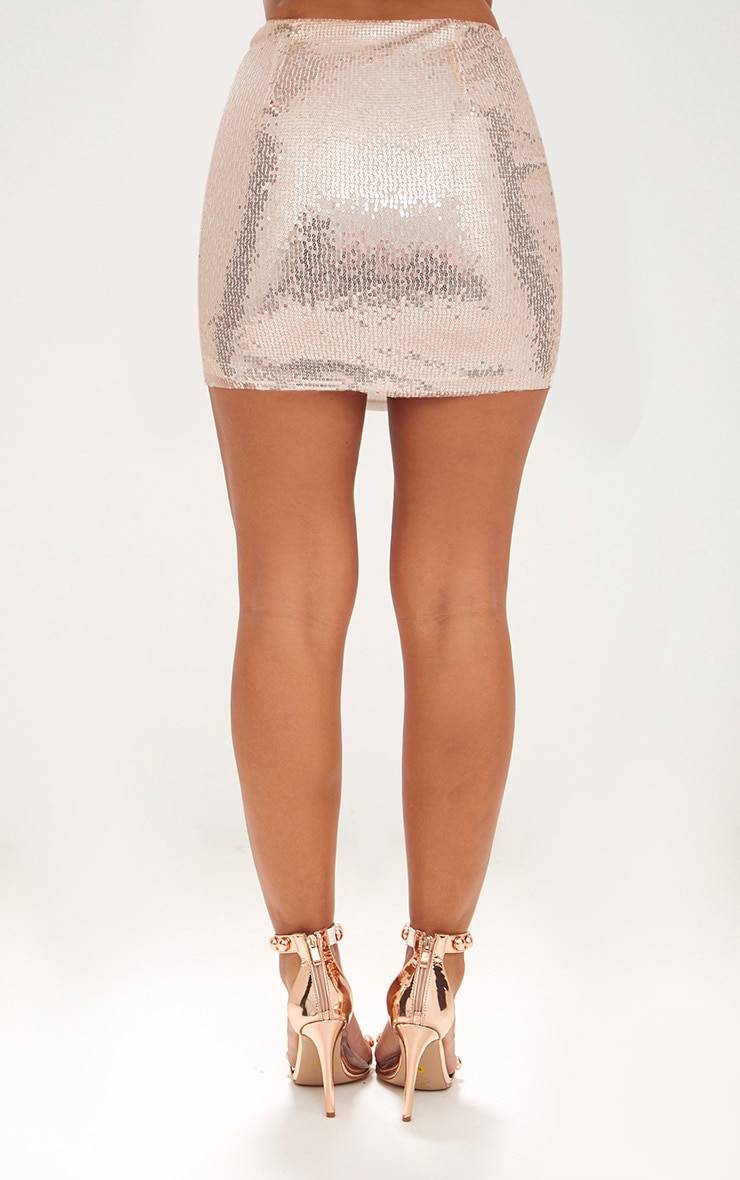 Rose Gold Sequin Mini Skirt 4
