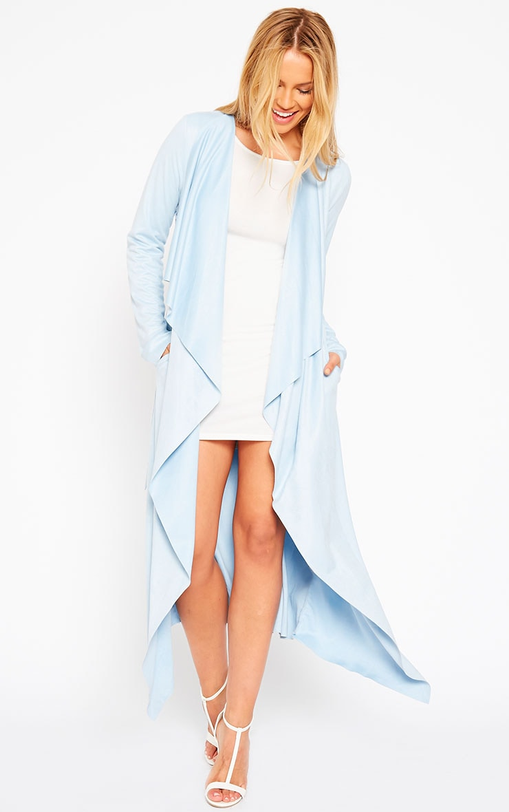 Liberty Powder Blue Suede Waterfall Coat 1