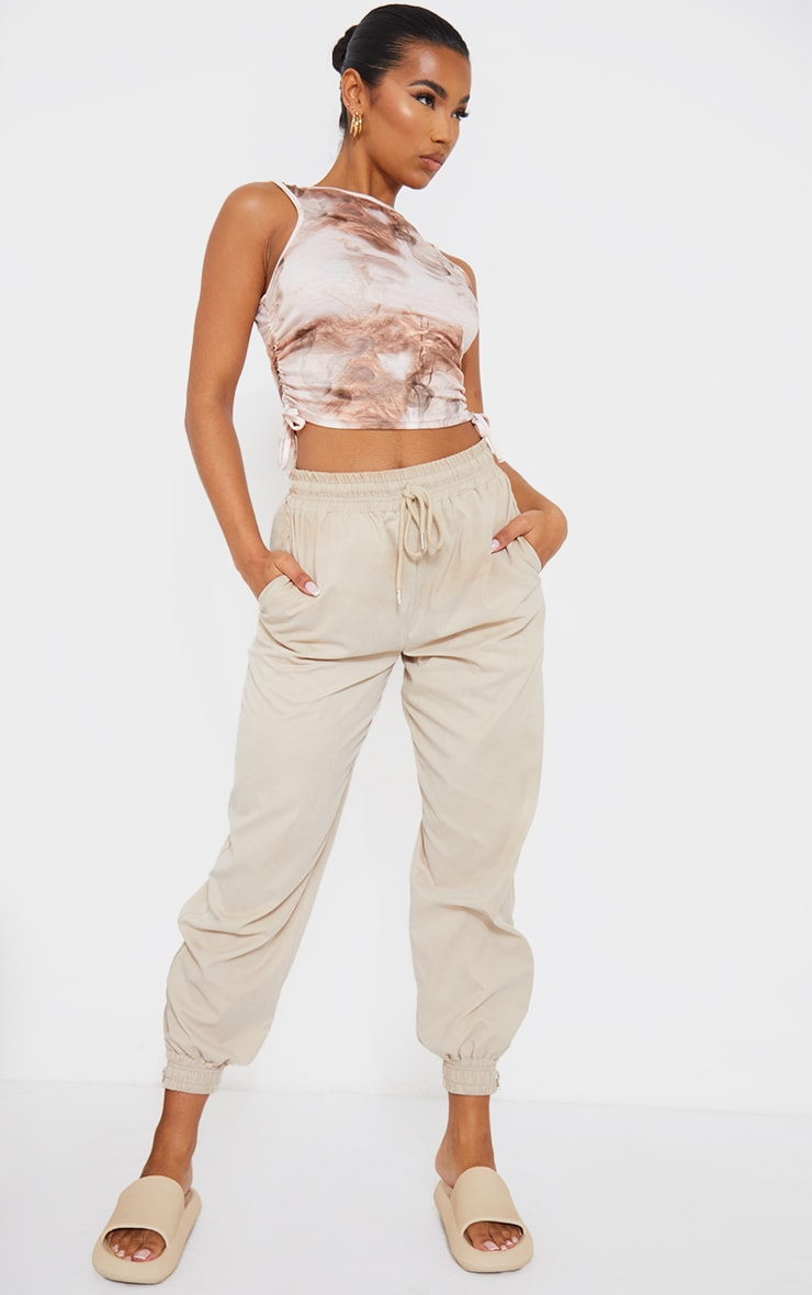 Beige Abstract Print Drawstring Side Racer Crop Top 3