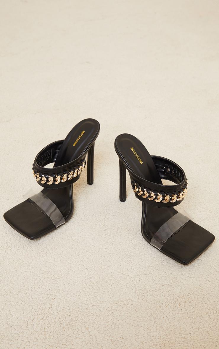Black Square Toe Chain Trim High Heel Mules 3