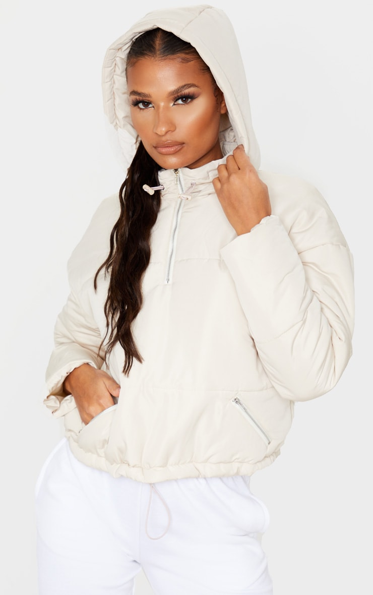 Cream Hooded Pull Over Puffer Jacket 4