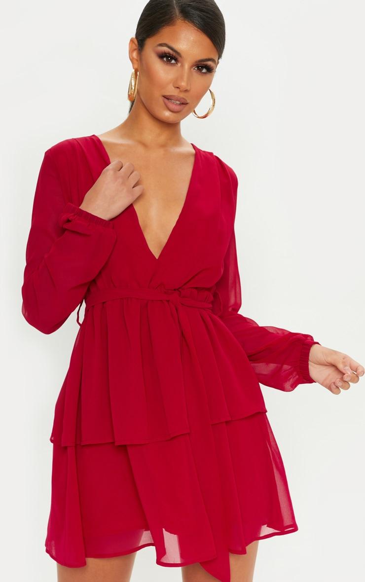 4774636740c0 Dark Red Chiffon Double Tier Plunge Skater Dress image 1