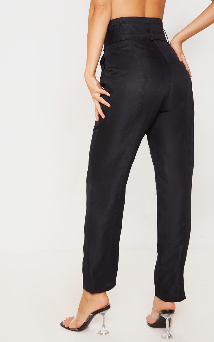 Black Super High Waisted Tie Waist Trousers 5