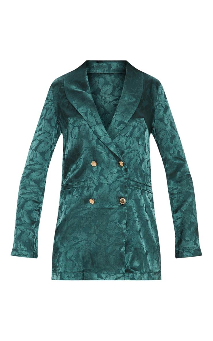 Emerald Green Floral Print Satin Blazer  3