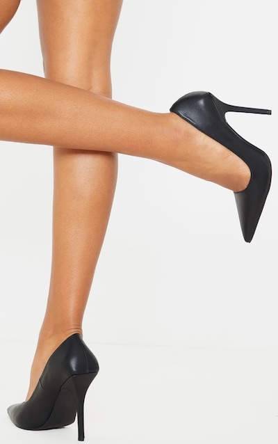 Black Square Heel Court Shoe