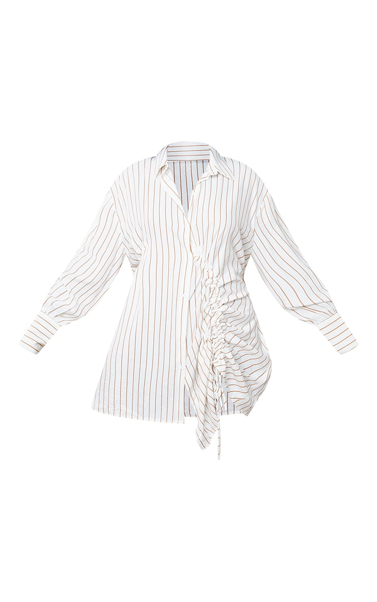 White Striped Long Sleeve Ruched Detail Shirt Dress 5