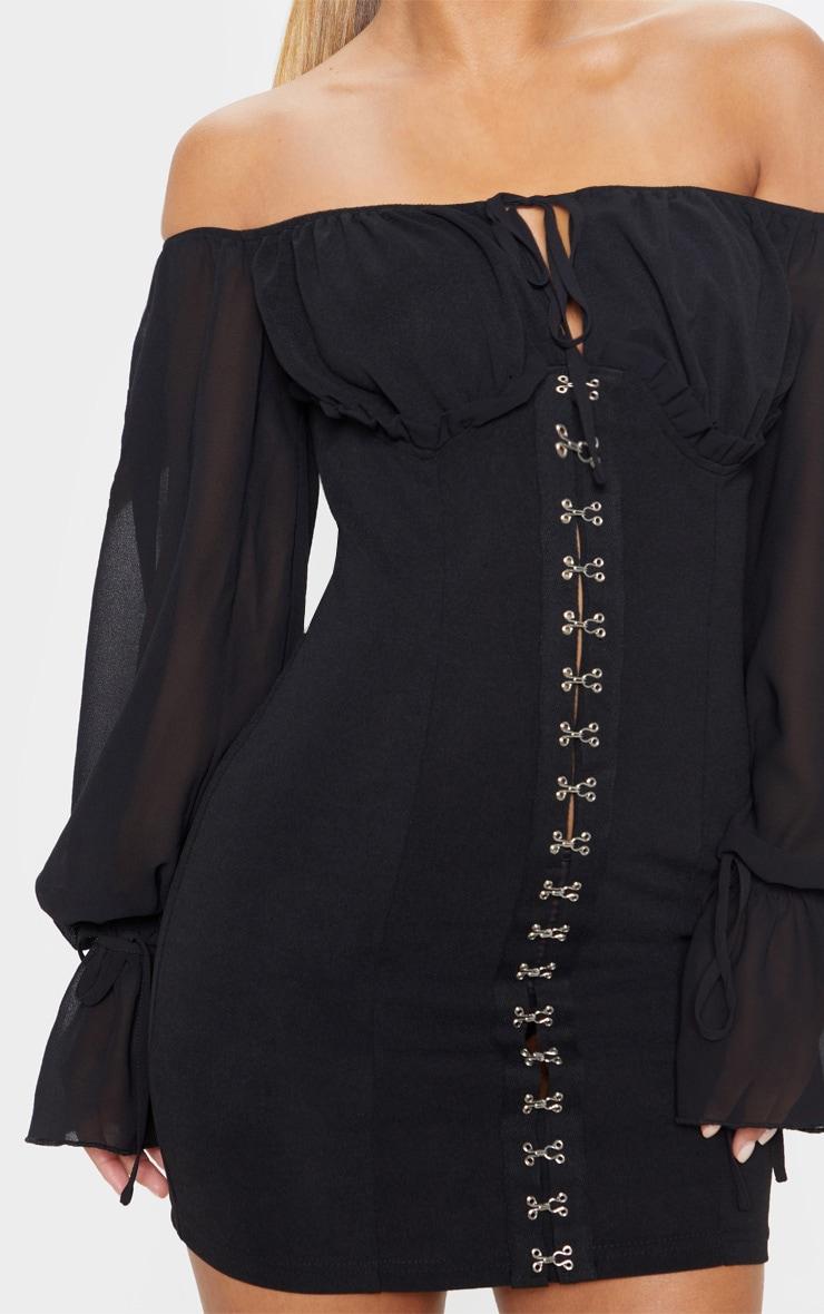 Petite Black Chiffon Sleeve Hook and Eye Bodycon Dress 5