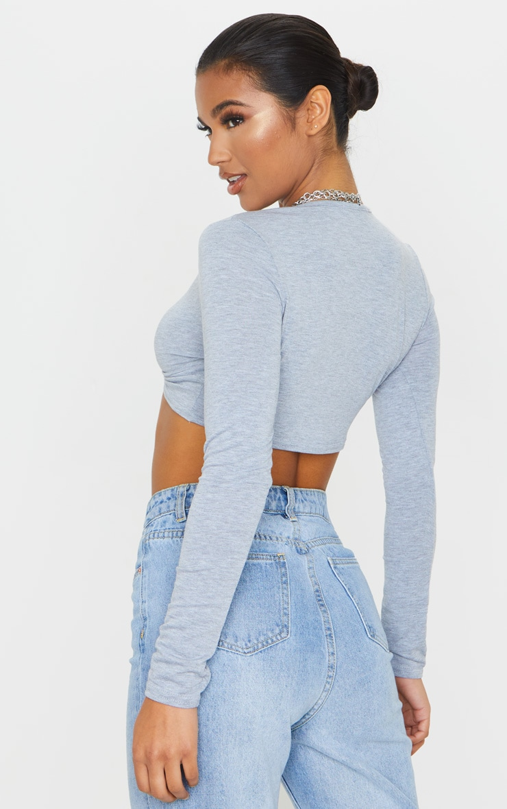 Grey Jersey Plunge Knot Front Long Sleeve Crop Top 2