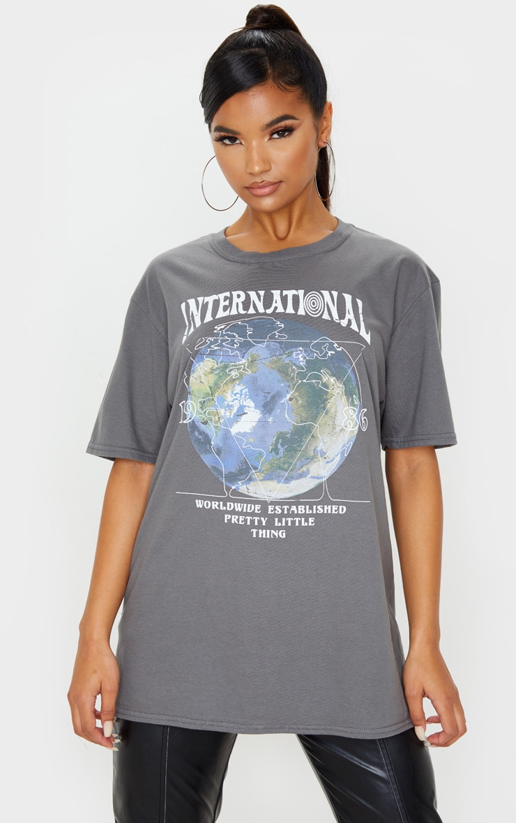 Charcoal Grey International Print Oversized Short Sleeve T Shirt 1
