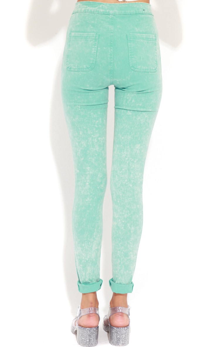Annie Mint Acid Wash Skinny Jeans 2