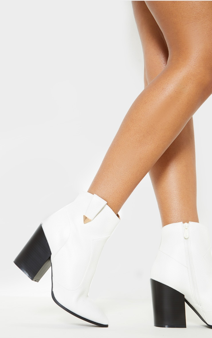 White Western Detail Ankle Boot 2