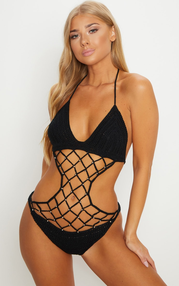 Black Crochet Beaded Swimsuit