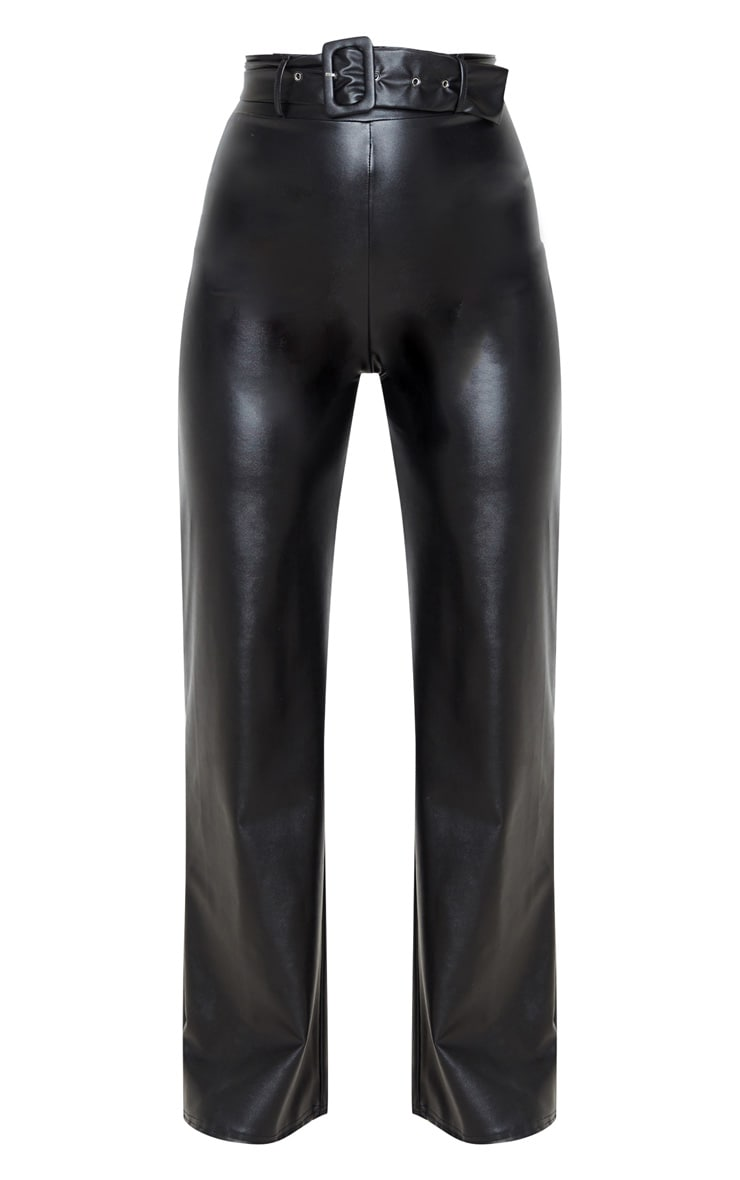 Black Faux Leather Belted Wide Leg Trouser 3