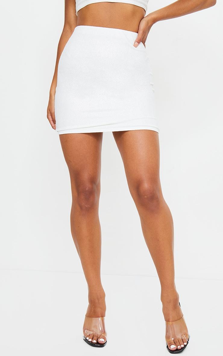 White Textured Glitter Mini Skirt 2