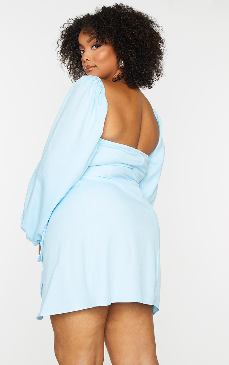 Plus Light Blue Ruched Cut Out Bodycon Dress 2