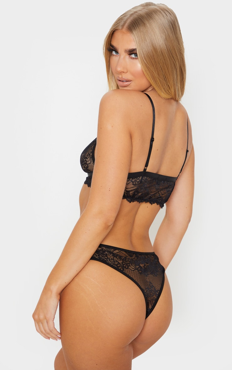 Black Floral Lace Cut Out Bra And Knicker Set 2
