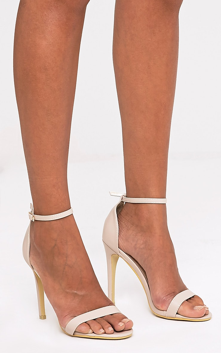 Clover Nude Strap Heeled Sandals 3