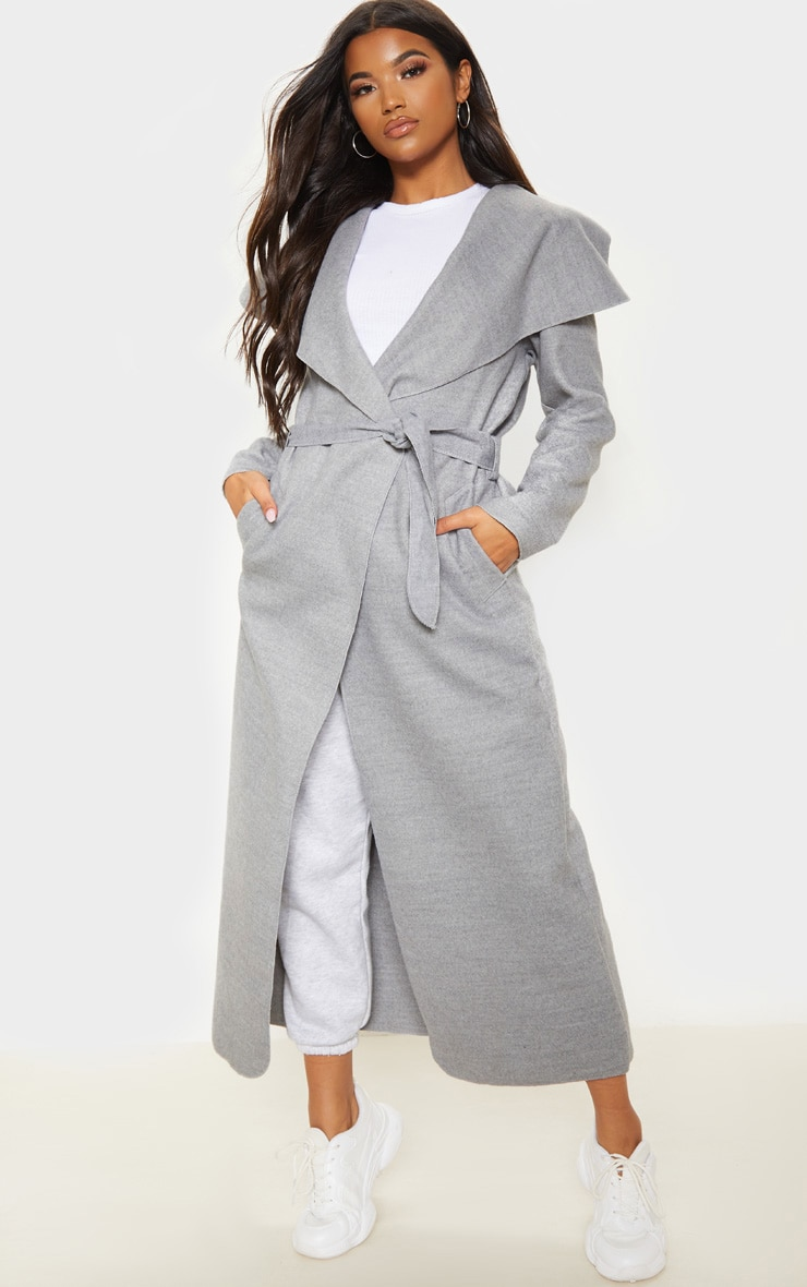 Grey Maxi Length Oversized Waterfall Belted Coat 1