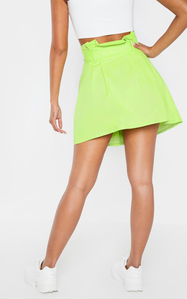 Lime Trench Tie Waist A line Mini Skirt 4