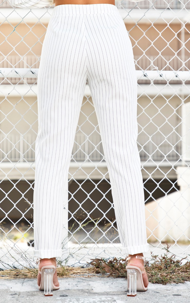 White Pinstripe High Waisted Straight Leg Pants 4