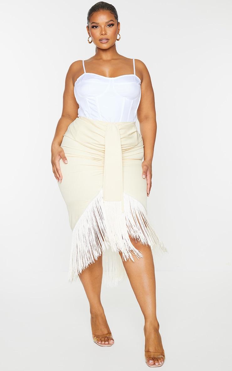 Plus Cream Tassel Hem Midi Skirt 1