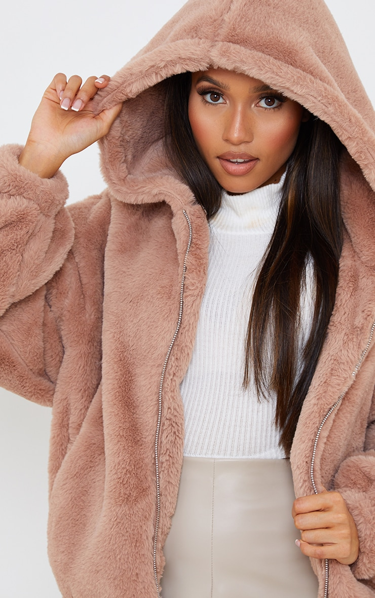 Petite Taupe Faux Fur Hooded Balloon Sleeve Jacket 4