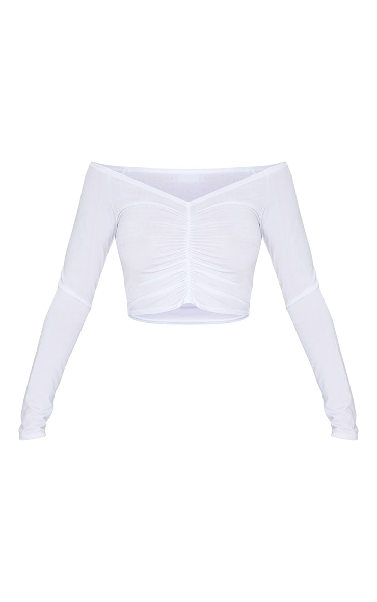 White Slinky Ruched Front Long Sleeve Crop Top  5