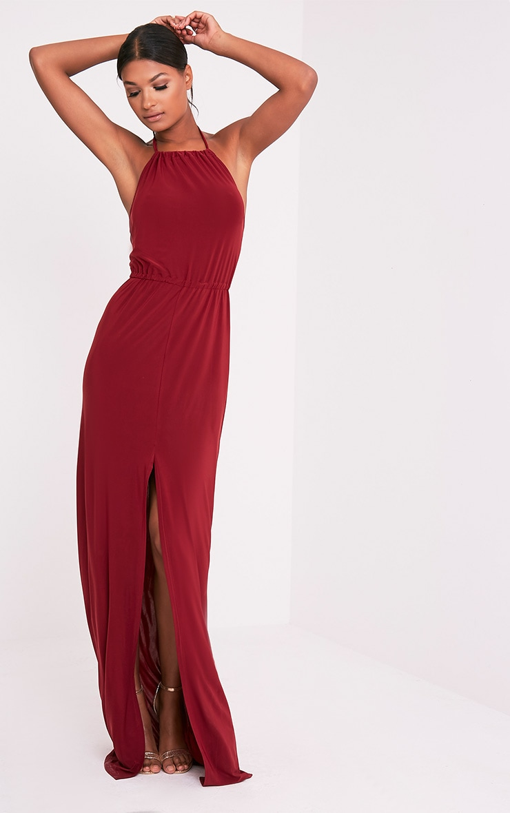 Charlee Burgundy Slinky Front Split Maxi Dress 1