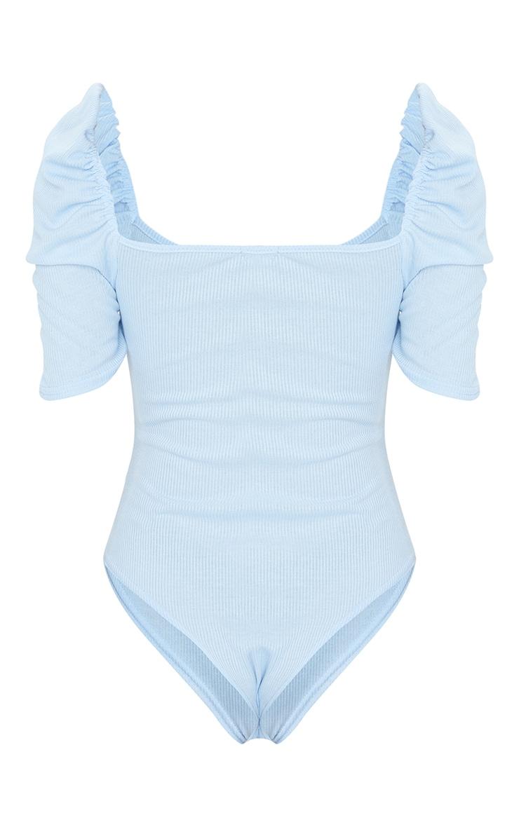 Baby Blue Rib Puff Short Sleeve Bodysuit 6