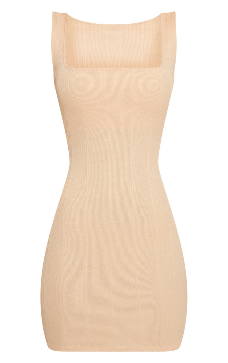 Nude Bandage Square Neck Bodycon Dress  3