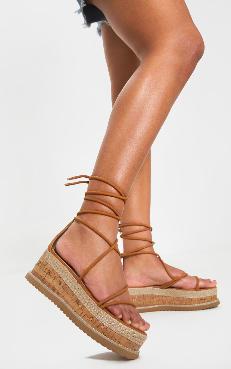 Tan Lace Up Strappy Flatform Sandal 1