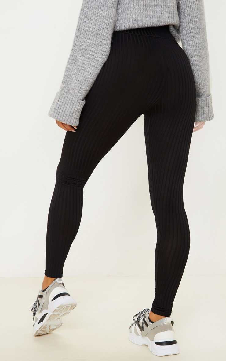 Harlie Black Ribbed High Waisted Leggings 4