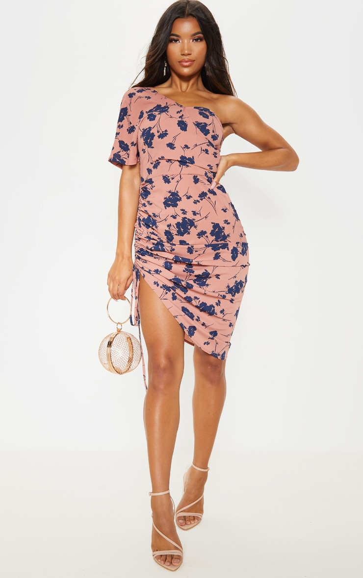 Dusty Rose One Shoulder Ruched Side Midi Dress 1