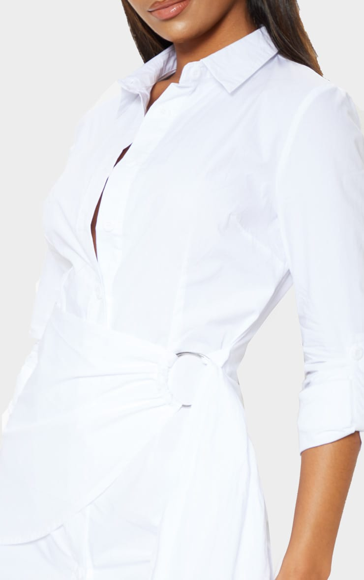 White Ring Detail Wrap Shirt Dress 5